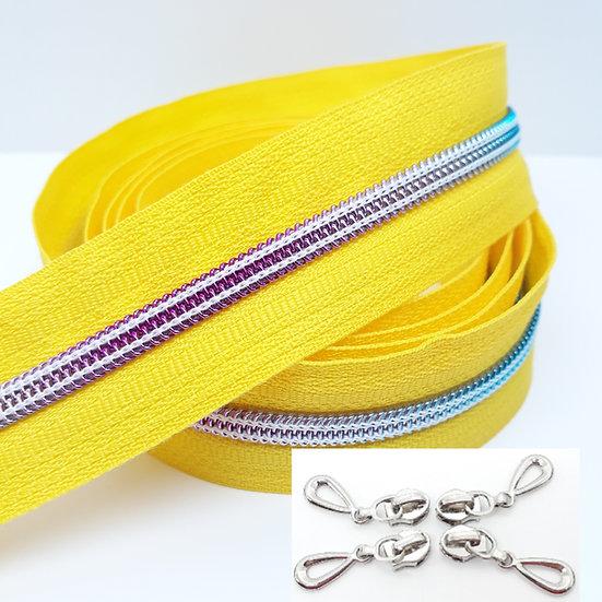 glidelås gul med regnbuefarget spiral, metervare