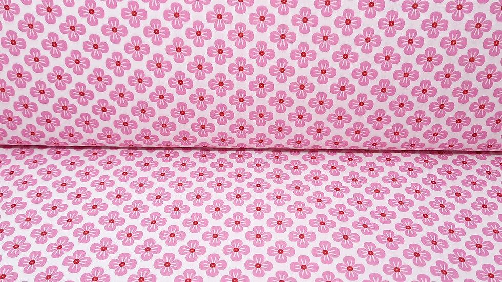 bomullstoff Sweet Japan Flowers, rosa på hvit