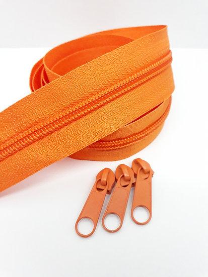 glidelås 5mm spiral, oransje