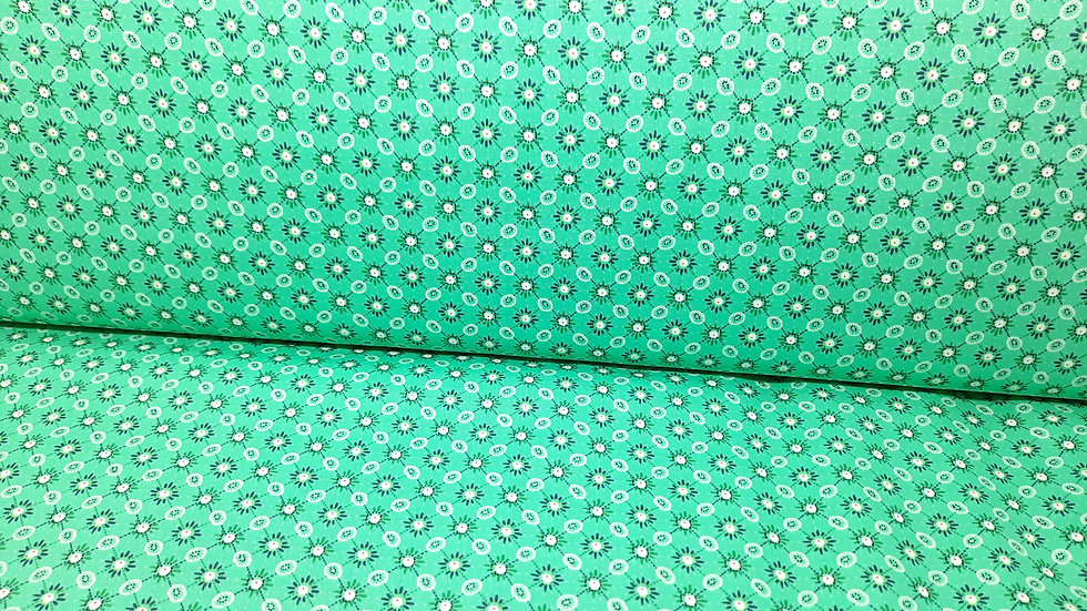 bomullstoff Emma, små mønstre på jadegrønn