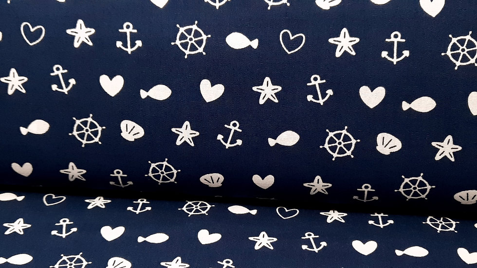 bomullstoff marineblå med maritime motiver
