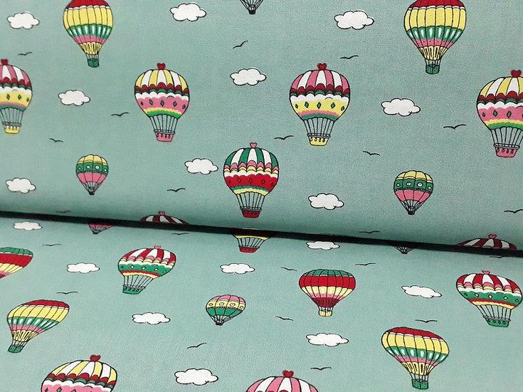 bomullstoff mintgrønn med varmluftsballoner