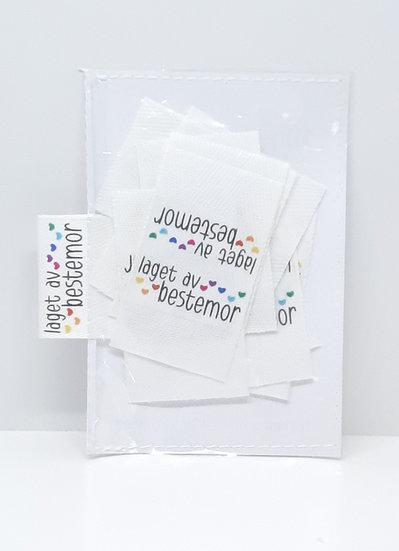 10 stk sidesøm label 'laget av bestemor'