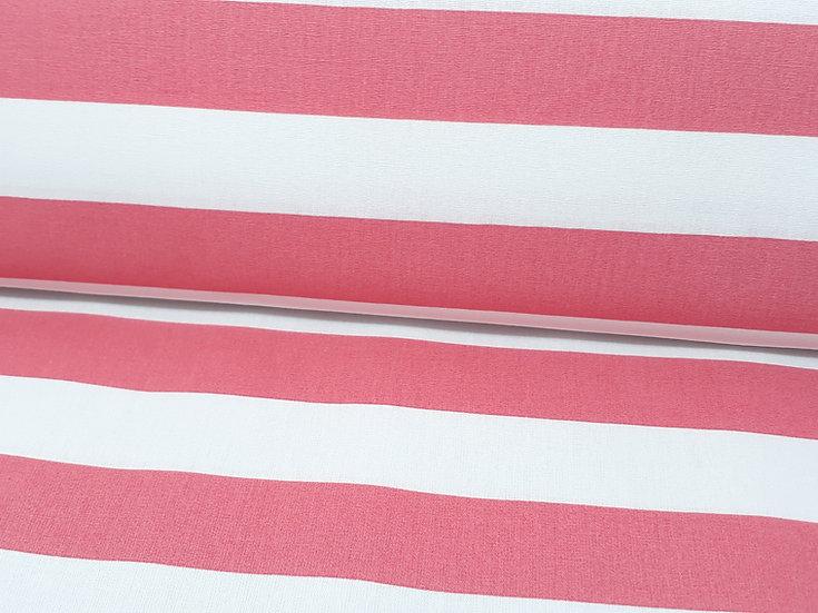 bomullstoff 2,5 cm striper korall/hvit