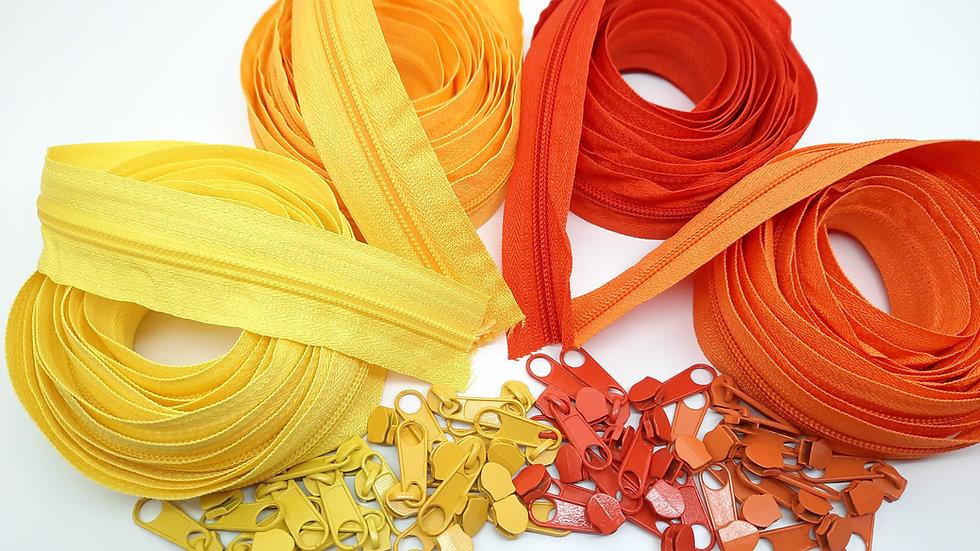 pakke 12m glidelås gul / oransje (3 meter i 4 farger)