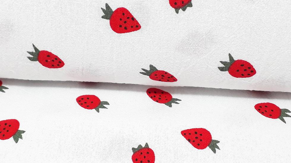 bomullstoff jordbær, stonewashed