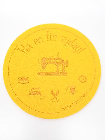 filt brikke til glass og kaffeekopp, gul