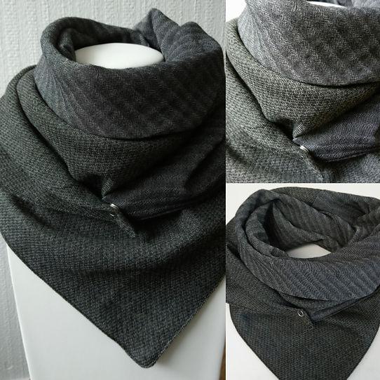 foulard astucieux Carbone mix noir gris