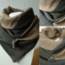 foulard astucieux camel mix beige et noir