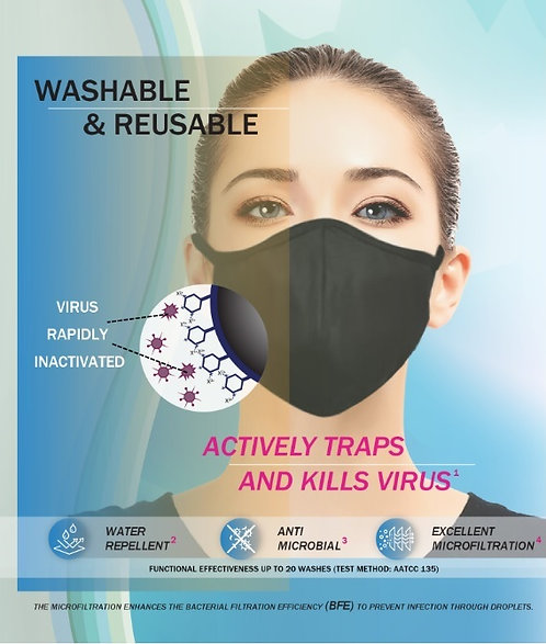 Anti-viral washable BFE, Anti-Microbial & Water Repellent Mask (1 pcs)