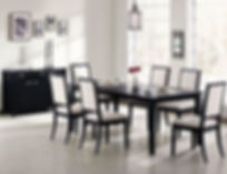 C-Coast Louise Collection_Black wood Dining Table_Table finish-Black_Chair Upholstery-Cream Fabric_L