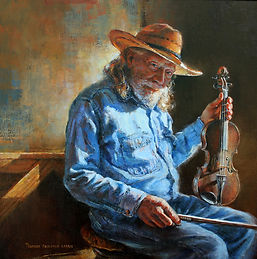 """""""A Twinkle in His Eye and A Song in His Heart"""" - oil 18x18"""