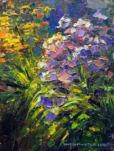 Early Evening in the Garden 8x6 oil