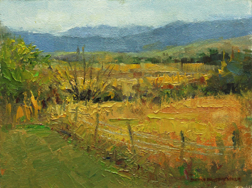 Up on the Hill 6 x 8 oil