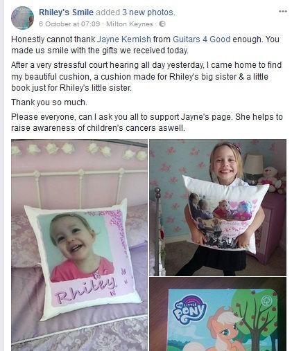 Screenshot of post on Rhiley's Smile pag