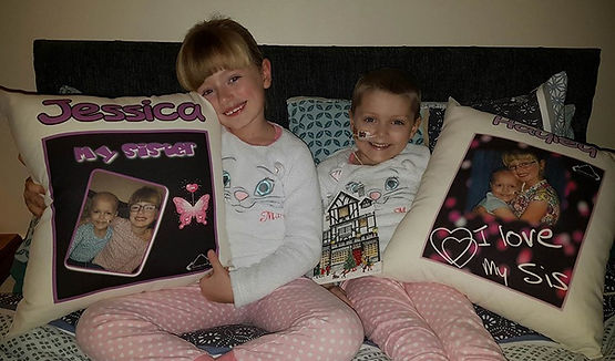 Jessica & Hayley with their cushions Dec