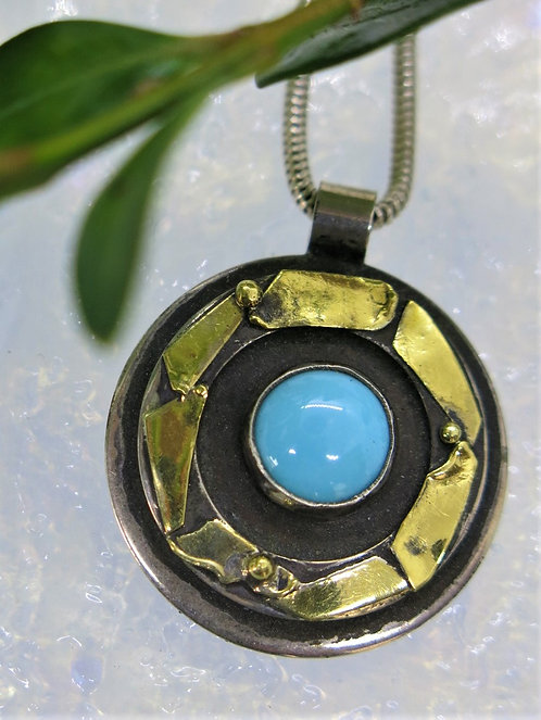 Jb10 Textured Round MIxed Metal and Turquoise Pendant