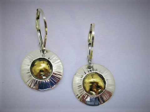Sb3 small sunburst silver & 22k earring.
