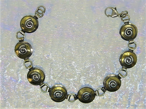 Jb17 Spiral Mixed Metal Bracelet