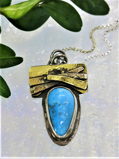 Jb19  silver and 22k Turquoise Pendant