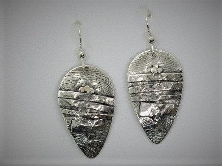 B7 Birch tear drop silver earrings