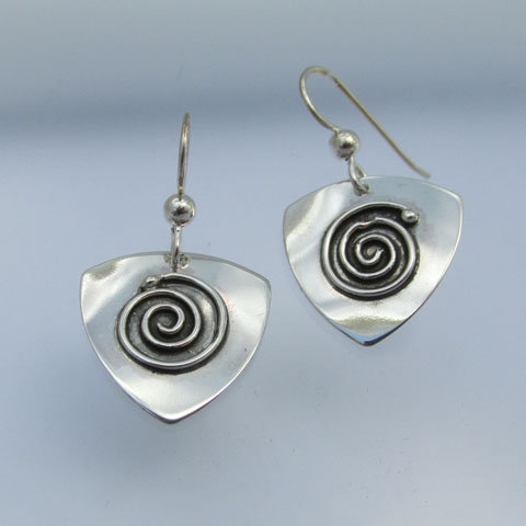 SP7  Small triangular spiral  earring