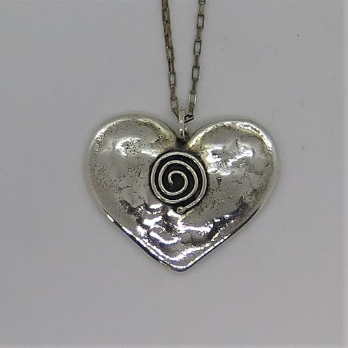 H2 Large Heart with spiral pendant
