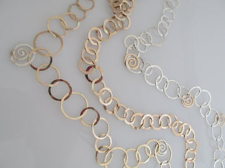 hand forged silver and gold necklaces