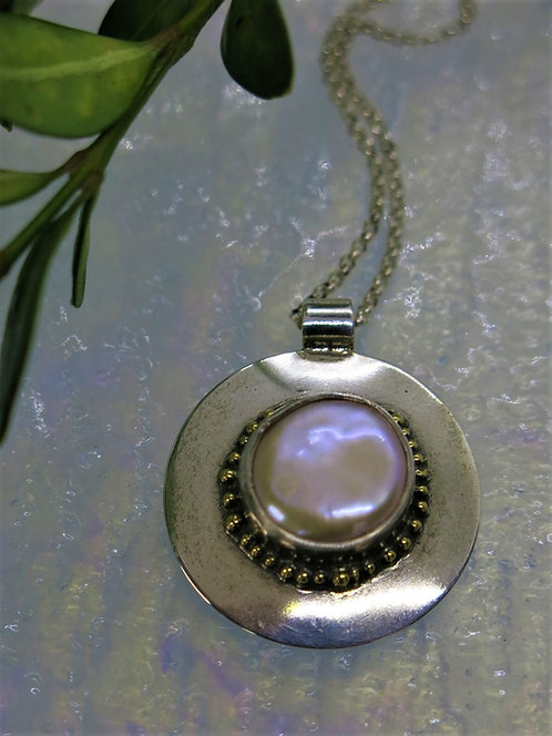 Jb9 Coin Pearl Pendant in Sterling and 22k Gold