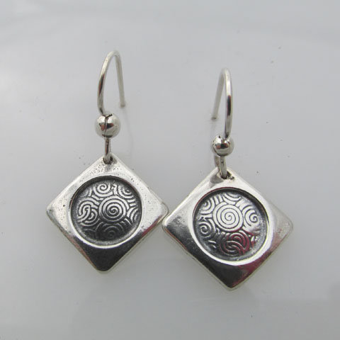 C17  Small banded square with spiral earring