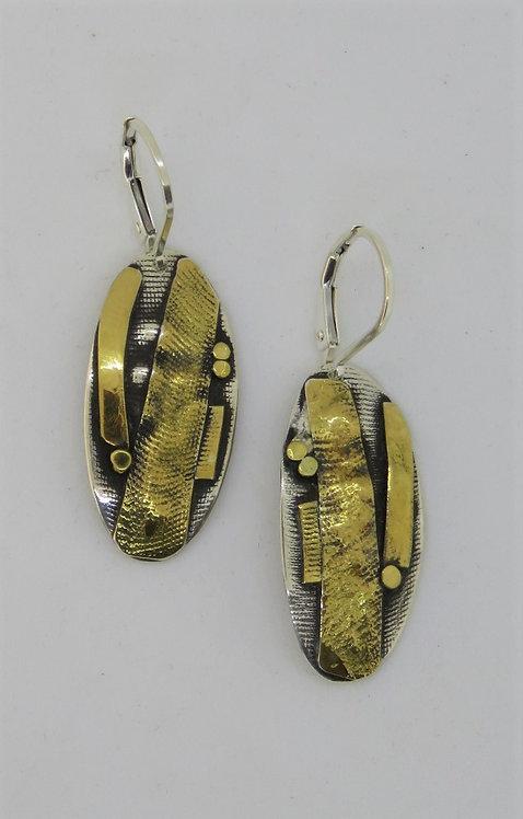 Dwa8 silver & 22k gold earrings on leaver wire