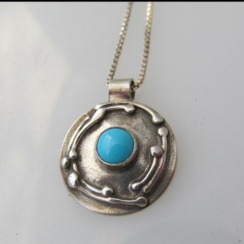 NC-C6  Art nouveau twig pendant with stone