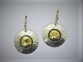 Sb2 Large sunburst silver & 22k gold earring