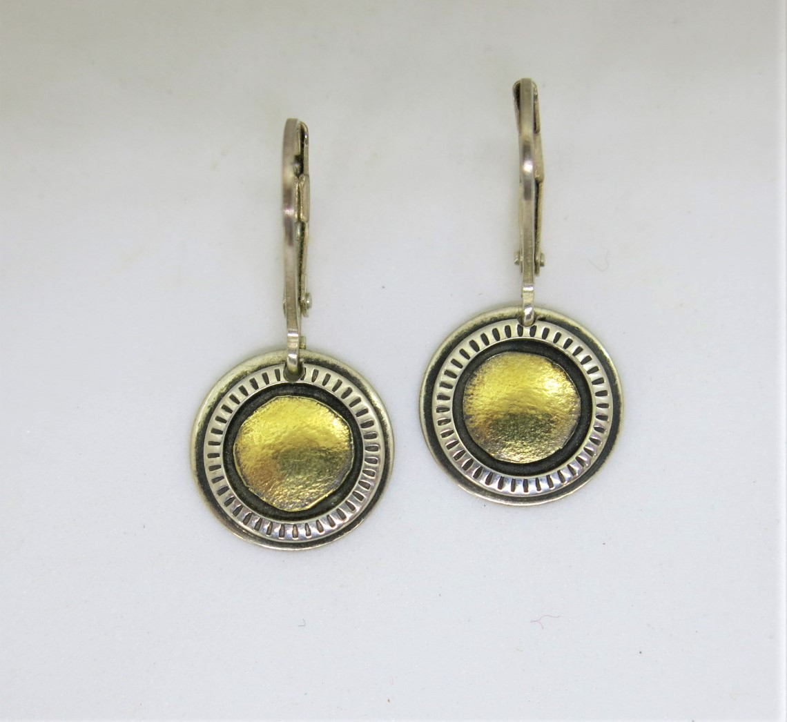 Classic silver and gold dome earring