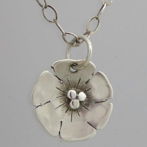 "nc-d112a  Tiny beach rose necklace. 1/2"" round"