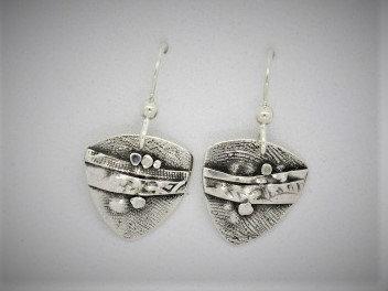 B5 Birch triangle silver earring