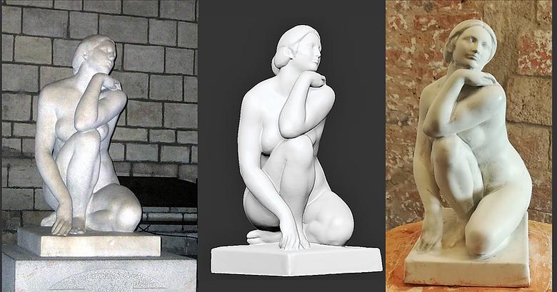 """Sculpture de numérisation et de reproduction """"La Diosa"""" de Jose Clará, modélisation 3D, numérisation 3D, Barcelone"""