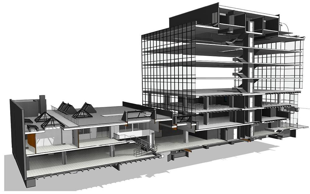 Creación de planos, vistas en planta, elevaciones y secciones a partir de un proyecto de escaneo láser 3D. Barcelona - España