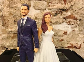 3D figures of groom and bride for wedding cakes printed in 3D