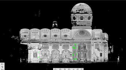 Point cloud Basilica de la Merced (Barcelona), 3D laser scanner, BIM (Building Information Modeling), 3D CAD design, BIM (Building Information Modeling)3D CAD Design, 3D Building Scanning, Autodesk Revit, Archicad, Laser Scanning, Reverse Engineering, Architecture, Engineering, Madrid, Barcelona, Valencia, Zaragoza, Spain