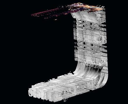 3D Laser Scanning of botton and side Ballast Water tanks, Naval laser scanning, Pointcloud