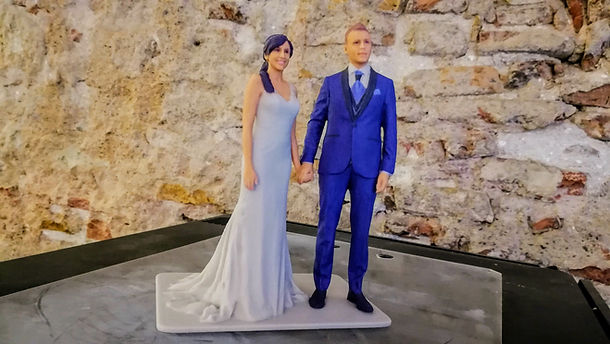 Real 3D bride and groom figures for cakes, 3D design, 3D scanning, Barcelona