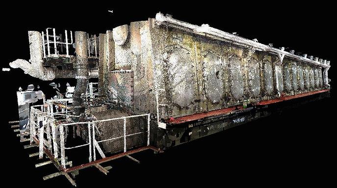 Numérisation laser 3D Naval. Salle des machines, pompes et tuyaux BWTS, pompes à incendie, pompes de cale, éjecteur, éjecteur, salle de direction, Espagne