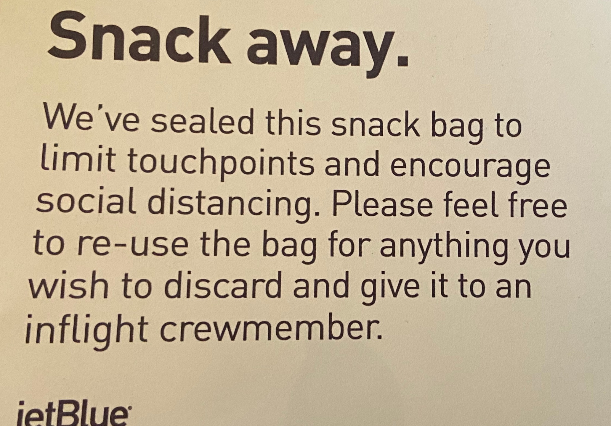Directions for snacks