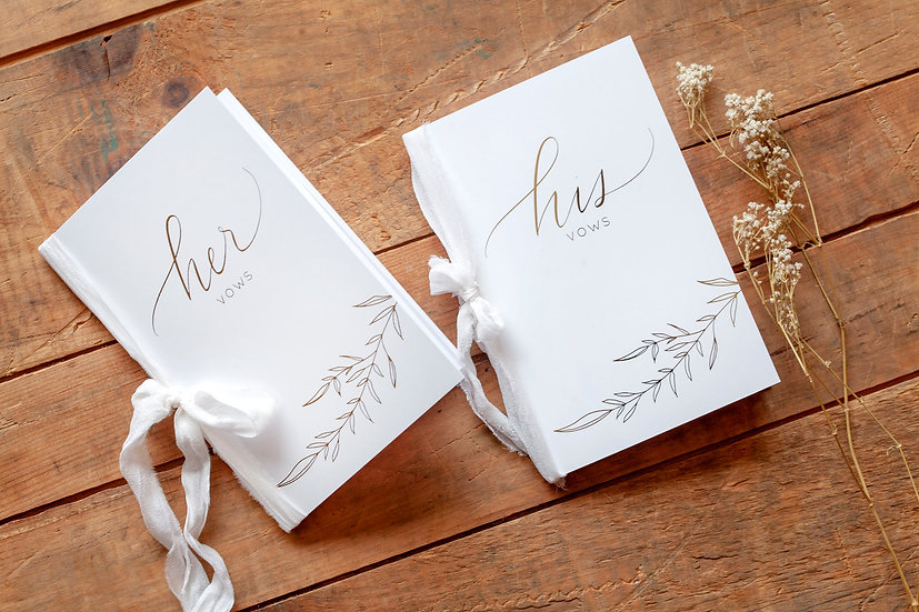 His and Her Vow Cards - Vow Card Keepsakes - His and Her Gold Foil Vow Card Set