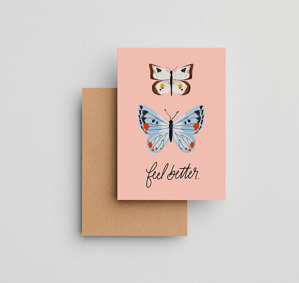 Feel Better Butterflies - Note Card