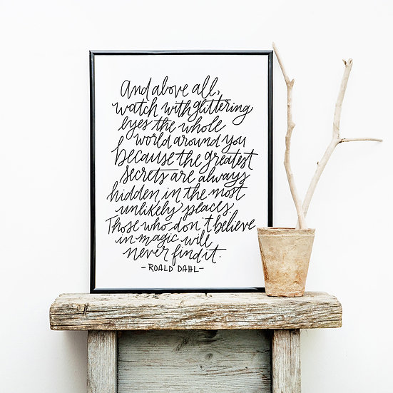 Believe in Magic - Black and White Quote Wall Art