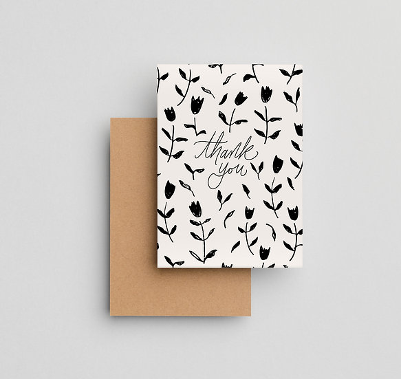 Thank You Tulips (black) - Note Card