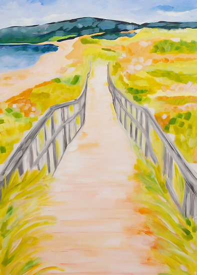 Inverness Beach Boardwalk Vertical Art Print