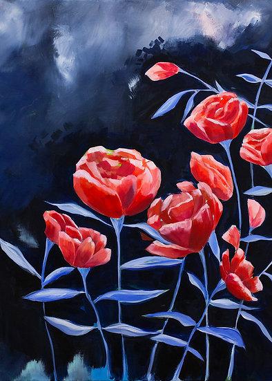 Twilight Poppies Vertical Art Print